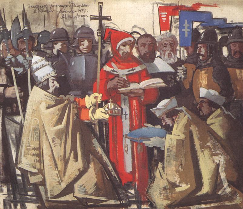 Vilmos Aba-Novák (1894-1941): Astrik mottar Stefanskronen fra pave Sylvester II (1938), i det ungarske nasjonalgalleriet (Magyar Nemzeti Galéria) i Budapest